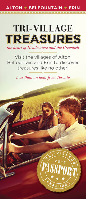 Visit the villages of Alton, Belfountain and Erin to discover treasures like no other!  Less than an hour from Toronto.