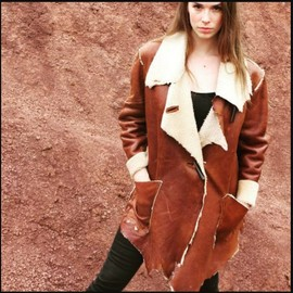 Leather coat designed by Linda Lundström